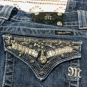 Miss Me metallic embellished bootcut jeans 30